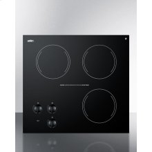 230v Three-burner Cooktop In Black Ceramic Glass, Made In Europe