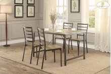 5-Piece Pack Dinette Set Table: 31.5 x 47.25 x 29.75H Chair: 15.75 x 17.5 x 35.75H