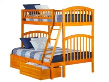 Richland Bunk Bed Twin over Full with Raised Panel Bed Drawers in Caramel Latte