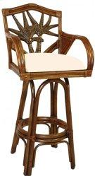 "Havana Palm Indoor Swivel Rattan & Wicker 30"" Bar Stool with cushions Product Image"