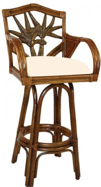 "Havana Palm Indoor Swivel Rattan & Wicker 30"" Bar Stool with cushions Product Image"