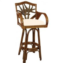 "Havana Palm Indoor Swivel Rattan & Wicker 30"" Bar Stool with cushions"