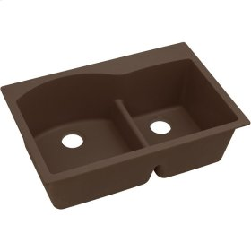 """Elkay Quartz Classic 33"""" x 22"""" x 10"""", Offset 60/40 Double Bowl Top Mount Sink with Aqua Divide, Mocha"""