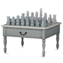 Gentleman's Chess Table 2 Drawer w/ Chess Set w/ Turned Leg
