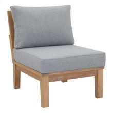 Marina Armless Outdoor Patio Teak Sofa in Natural Gray