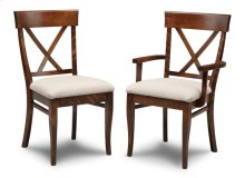 Florence X Back Side Chair With Fabric/Bonded Leather Seat