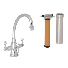 Polished Chrome Perrin & Rowe Georgian Era Filtration 3-Lever Kitchen Faucet with Etruscan Metal Lever