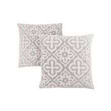 "PILLOW - 18""X 18"" / LIGHT GREY MOTIF DESIGN / 2PCS"