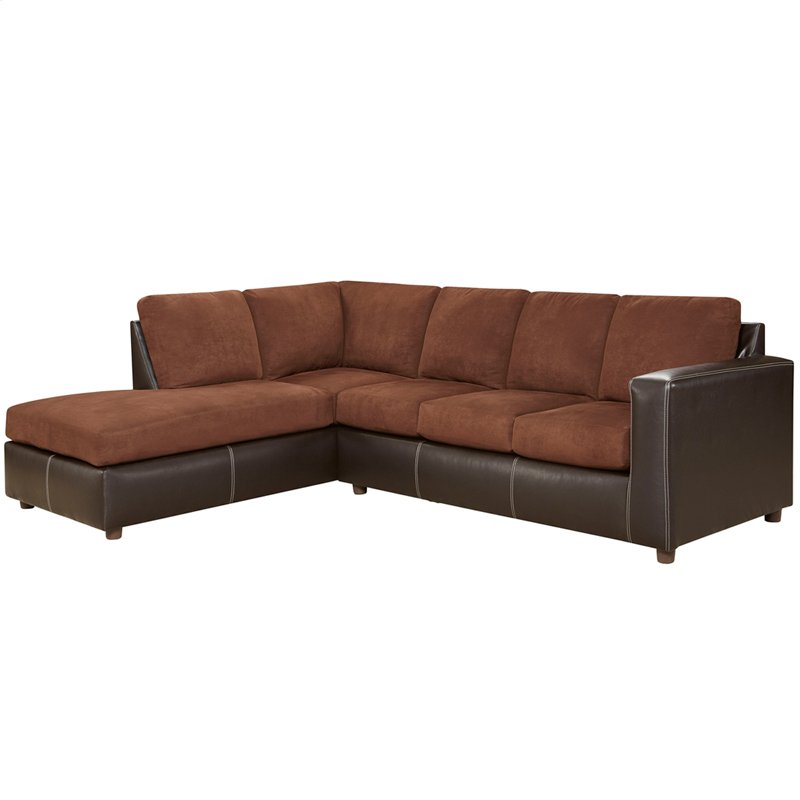 Exceptional Designs By Flash Aruba Chocolate Microfiber L Shaped Sectional