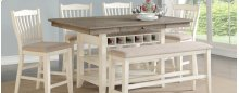 Pub Table, 4 Chairs & Bench