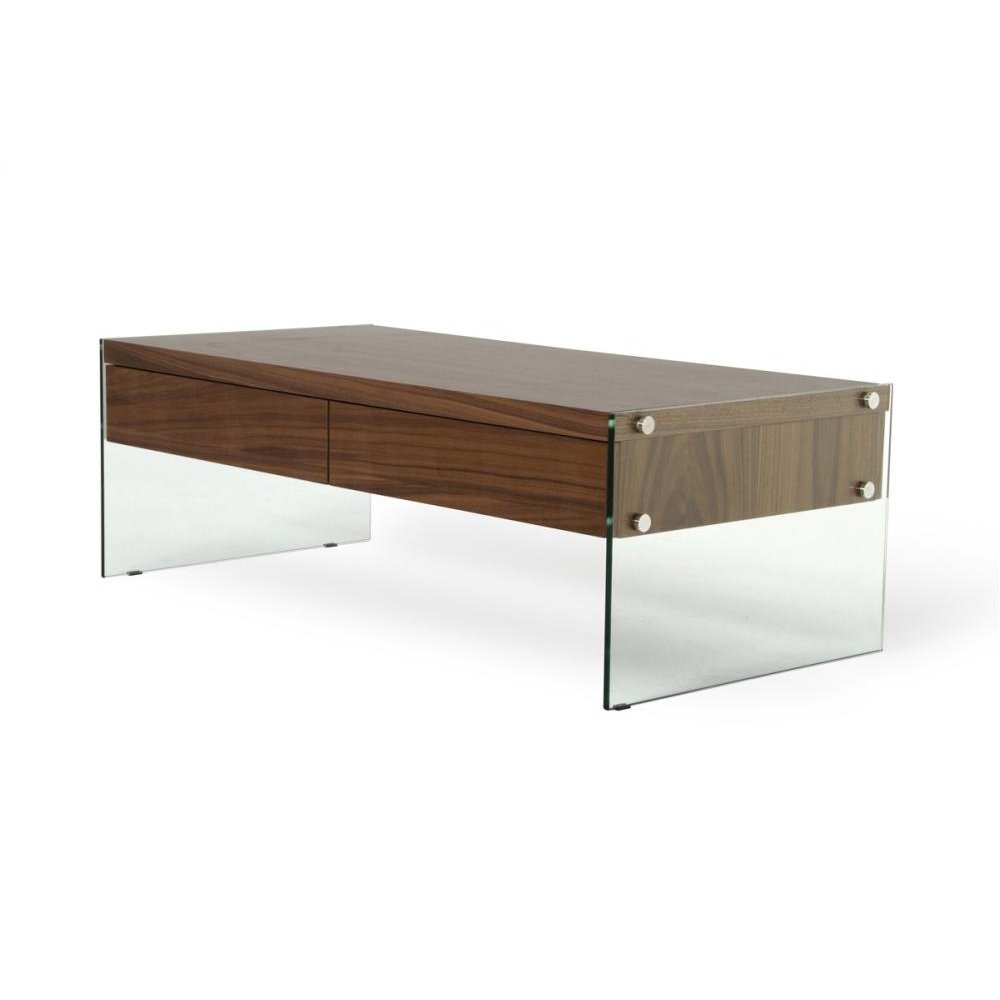 Modrest Aura Modern Walnut Floating Coffee Table