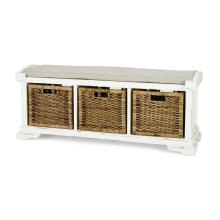 Homestead Bench w/ Rattan Baskets - WHD LN126