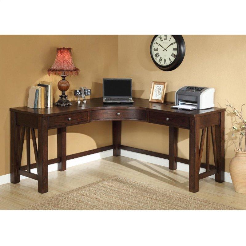 Castlewood Curved Corner Desk Warm Finish