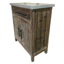 Venezio Small Cabinet 1 Drawer + 2 Doors w/ Faux Cement Top, Rustic Brown