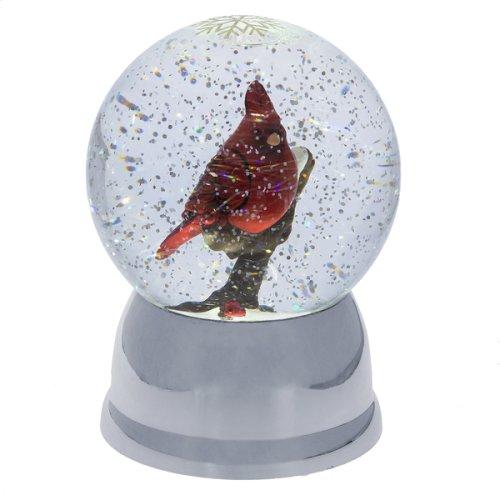 Lighted LED Shimmer Cardinal Snow Globe.