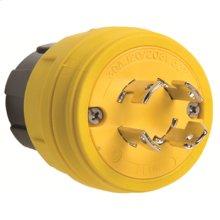 28W09 Watertight, Non-Grounding, NEMA 4X/6P Locking Plug,Yellow