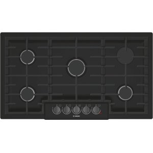 "BOSCH800 Series 36"" 5 Burner Gas Cooktop, NGM8646UC, Black with Black Stainless Knobs"