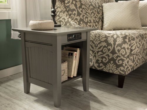 Nantucket End Table with Charger Atlantic Grey