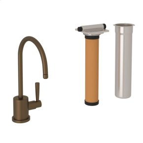 English Bronze Perrin & Rowe Holborn C-Spout Filter Faucet with Contemporary Metal Lever