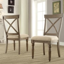 Aberdeen - X-back Side Chair - Weathered Driftwood Finish
