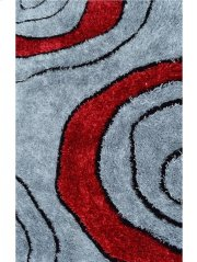 Shaggy Grey, Red, Black Silk Mix (1200 Silk Mixed Chinese Knot. Pile Height 3.5 Cm Weight 220 G/sqm) Product Image