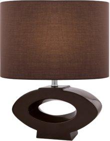 Table Lamp, Coffee Ceramic Body/coffee Fabric, E27 Cfl 23w