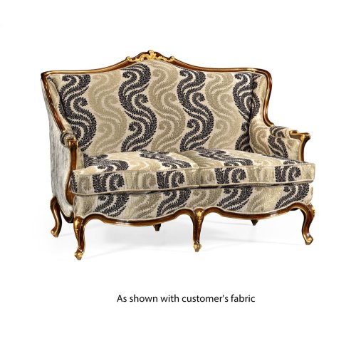 Two Seater Sofa with Gilded Carving, Upholstered in COM