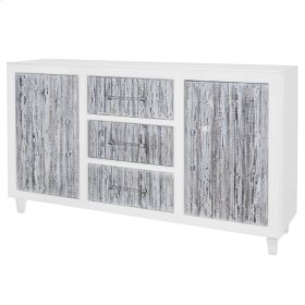 Glendora Sideboard 3 Drawers + 2 Doors Acrylic Legs, White/Rustic White