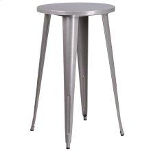 24'' Round Silver Metal Indoor-Outdoor Bar Height Table