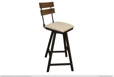 "30"" Swivel Barstool w/ Fabric Seat & Iron Base"