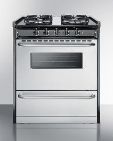 """30"""" Wide Slide-in Gas Range With Stainless Steel Doors and Sealed Burners; Replaces Tnm21027bfrwy"""