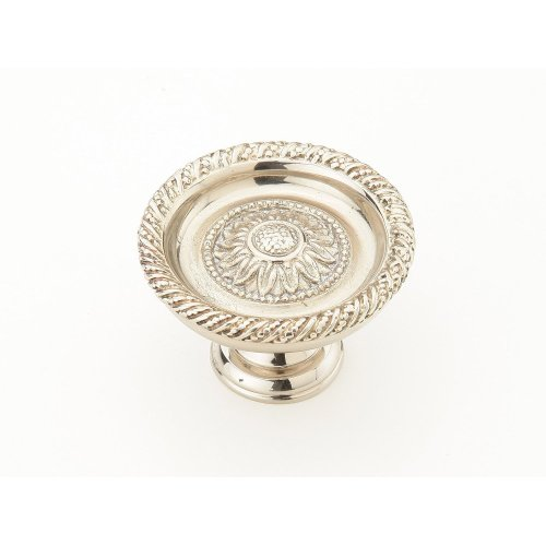 "Solid Brass, Symphony, Sunflower, Round Knob, 1-3/4"" diameter,White Brass finish"