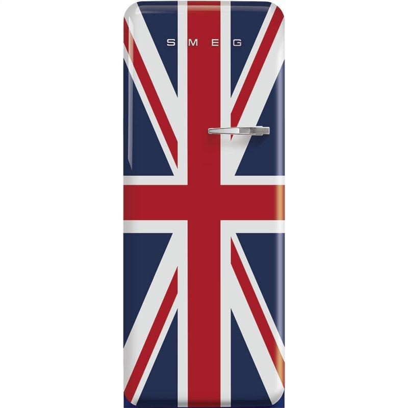 """24"""" retro-style fridge, Union Jack, Left-hand hinge"""