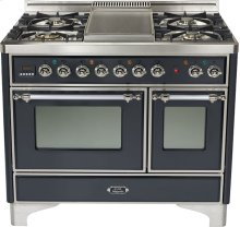 "Matte Graphite 40"" 6 Burner Majestic Techno Dual Fuel Range"