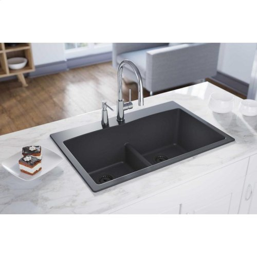"Elkay Quartz Classic 33"" x 22"" x 10"", Equal Double Bowl Drop-in Sink with Aqua Divide, Dusk Gray"