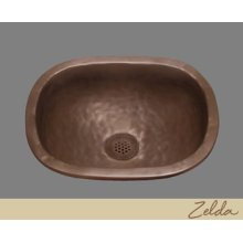 Zelda - Small Roval Lavatory/bar Sink -textured Pattern - Pewter