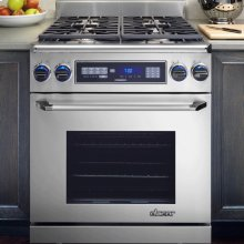 """Discovery 30"""" Free-Standing Range, in Stainless Steel with Chrome Trim"""