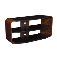 Add modern flair to your home with this bowfront Cameo Park TV stand, accom...