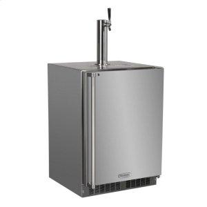 """MarvelOutdoor 24"""" Single Tap Built In Beer Dispenser with Stainless Steel Door - Solid Stainless Steel Door With Lock - Left Hinge"""
