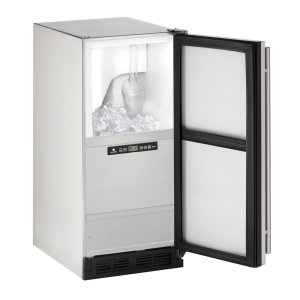 """U-Line Outdoor Series 15"""" Outdoor Clear Ice Machine With Stainless Solid Finish And Field Reversible Door Swing (115 Volts / 60 Hz)"""
