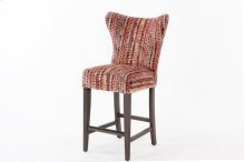 """Large scale curved back wing style barstool with decorative nails & wood legs. Also available as 30"""" height."""