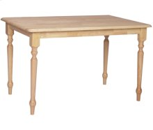 """30"""" x 48"""" Complete Table w/ Turned Legs Natural"""