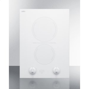 """Summit15"""" Wide 230v 2-burner Radiant Cooktop Made In France With White Ceramic Glass Surface and Sized for 12 3/8"""" W X 19 3/8"""" D Cutouts"""
