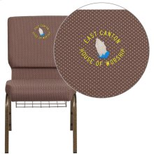 Embroidered HERCULES Series 18.5''W Brown Dot Fabric Church Chair with 4.25'' Thick Seat, Book Rack - Gold Vein Frame