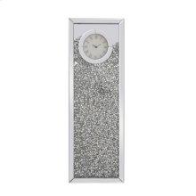 12 inch Rectangle Crystal Wall Clock Silver Royal Cut Crystal