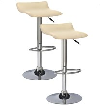Cream Adjustable Swivel Bar Stool #10042CR - Set of 2