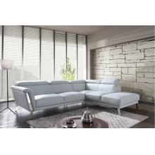 Divani Casa Tatum Modern Blue Leather Sectional Sofa