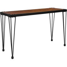 Baldwin Collection Rustic Walnut Burl Wood Grain Finish Console Table with Black Metal Legs