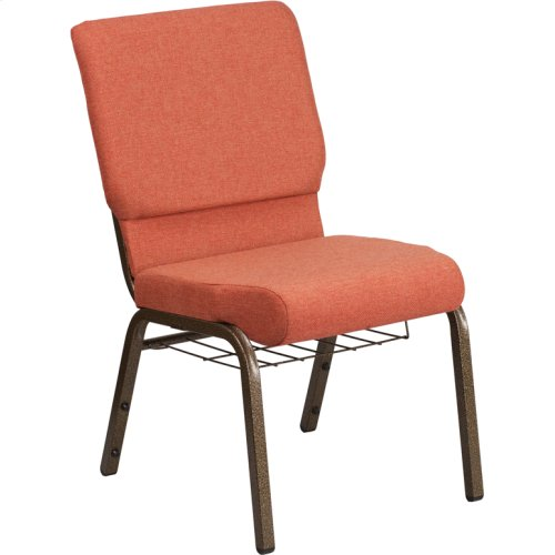 HERCULES Series 18.5''W Church Chair in Cinnamon Fabric with Book Rack - Gold Vein Frame