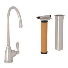 Satin Nickel Perrin & Rowe Georgian Era C-Spout Filter Faucet with Metal Lever